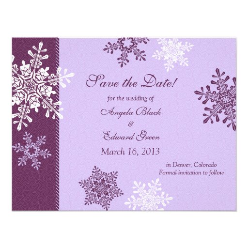 Purple White Snowflake Winter Save the Date Custom Announcement