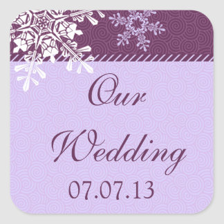 Purple White Snowflake Winter Wedding Seals Square Sticker