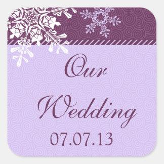 Purple White Snowflake Winter Wedding Seals Square Sticker