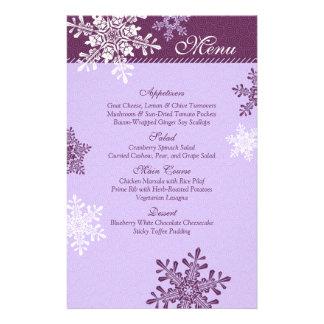 Purple White Snowflakes Winter Wedding Menu Card