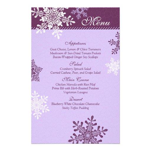 Purple White Snowflakes Winter Wedding Menu Card Personalized Flyer