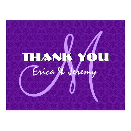 Purple White Stars Wedding Thank You Monogram N806 Postcard