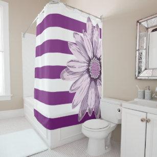 Purple White Stripe Flower Shower Curtain