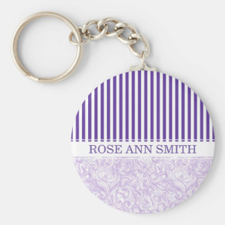 Purple-White Stripe•Swirly Wave Pattern•Custom Key Ring