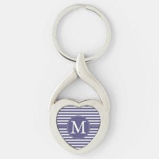 Purple White Stripes Monogram Silver-Colored Heart-Shaped Metal Keychain
