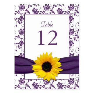 Purple White Sunflower Damask Wedding Table Card