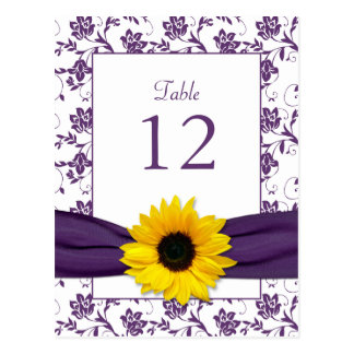 Purple White Sunflower Damask Wedding Table Card Postcard