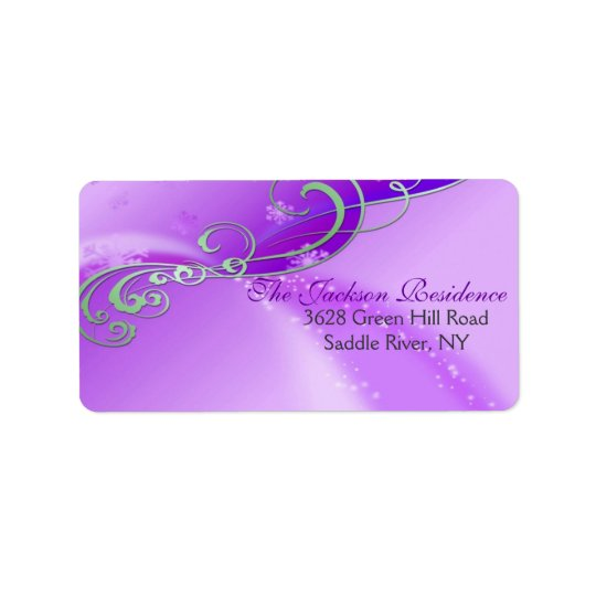 Purple & White Swirl Christmas Address Label