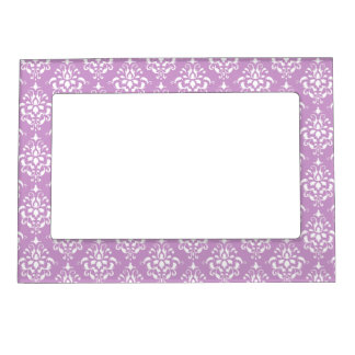 Purple White Vintage Damask Pattern 1 Magnetic Picture Frame