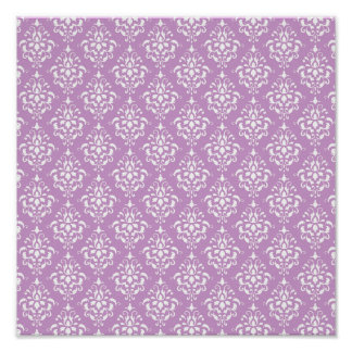 Purple White Vintage Damask Pattern 1 Posters