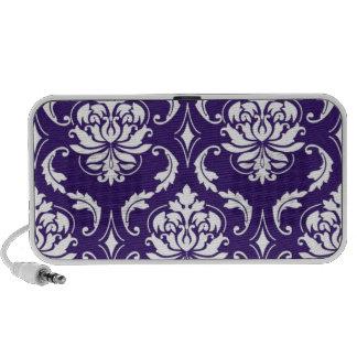 Purple White Vintage Damask Pattern Mini Speakers