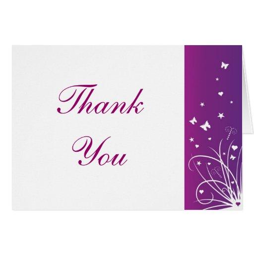 Purple Amp White Wedding Thank You Card