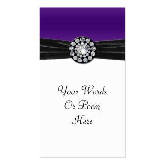 Purple & White With Black Velvet & Diamond Wedding Pack Of Standard Business Cards