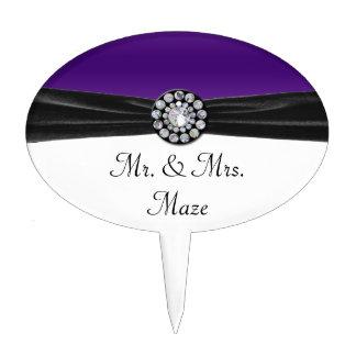 Purple & White With Black Velvet & Diamond Wedding Cake Toppers