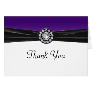 Purple & White With Black Velvet & Diamond Wedding Greeting Cards