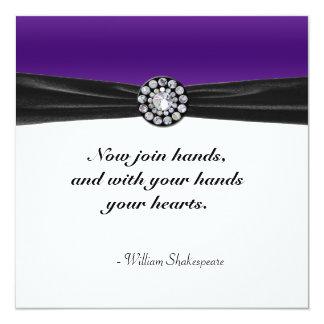Purple & White With Black Velvet & Diamond Wedding 13 Cm X 13 Cm Square Invitation Card