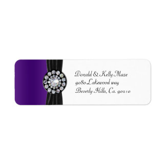 Purple & White With Black Velvet & Diamond Wedding Return Address Label