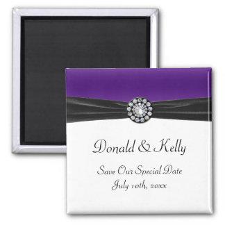 Purple & White With Black Velvet & Diamond Wedding Fridge Magnet