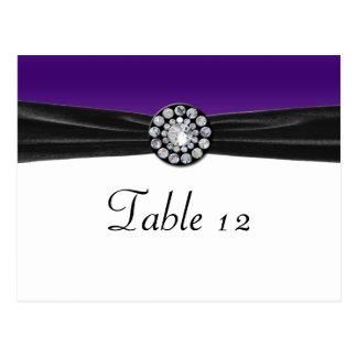 Purple & White With Black Velvet & Diamond Wedding Postcard