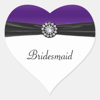 Purple & White With Black Velvet & Diamond Wedding Heart Stickers