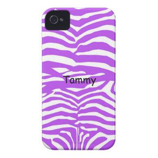 Purple & White Zebra Print iPhone 4 Cover