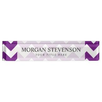Purple White Zigzag Stripes Chevron Pattern Desk Name Plates
