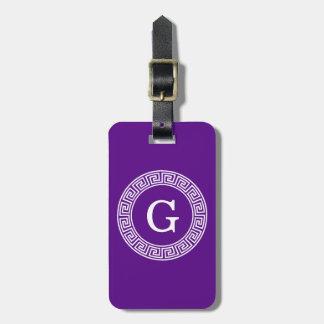 Purple Wht Greek Key Rnd Frame Initial Monogram Luggage Tag