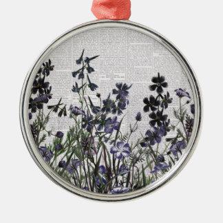 Purple Wild flowers on Vintage Newspaper Christmas Tree Ornaments