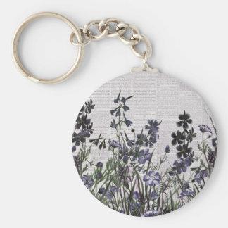 Purple Wild flowers on Vintage Newspaper Key Chain