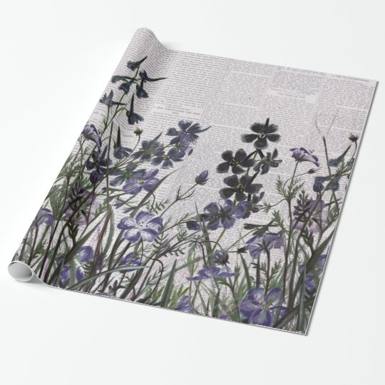 Purple Wild flowers on Vintage Newspaper Wrapping Paper