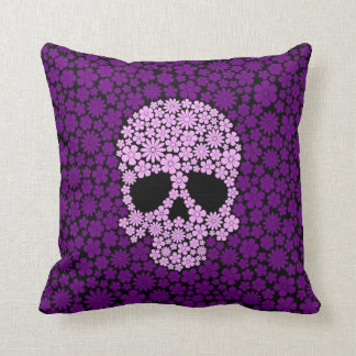 Purple Wild Flowers Skull Throw Pillows