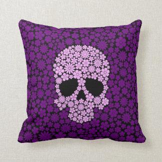 Purple Wild Flowers Skull Throw Pillow