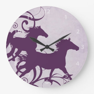 Purple Wild Horses Large Clock