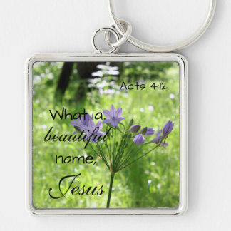 Purple Wildflower Bible Verse Keychain