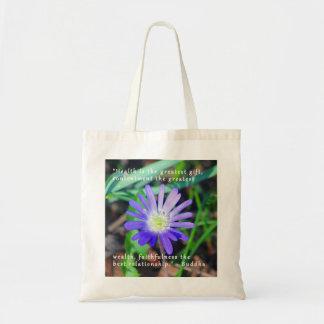 Purple Wildflower Encouragement Themed Tote Bag