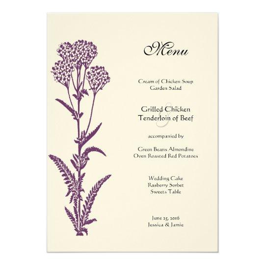 Purple Wildflower Floral Country Chic Wedding Menu Card