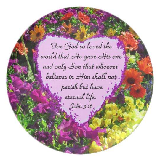 PURPLE WILDFLOWER JOHN 3:16 PLATE