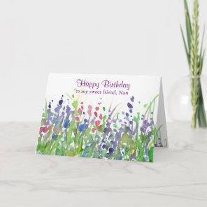 Purple Wildflower Meadow Happy Birthday Friend Card