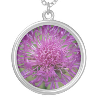 Purple Wildflower photo sterling silver necklace