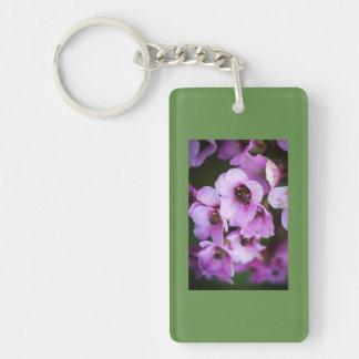 Purple wildflowers Double-Sided rectangular acrylic key ring