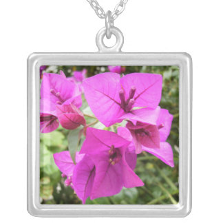 Purple Wildflowers Square Pendant Necklace