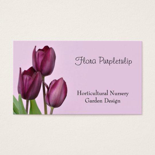 Purple wine coloured tulips business card
