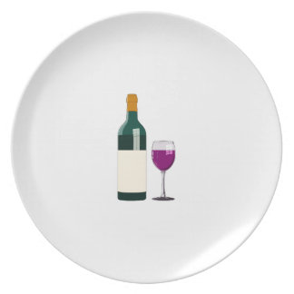 Purple Wine in Glass and Bottle Simple Style Plate