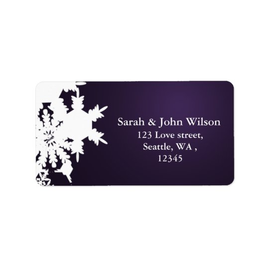 purple winter wedding snowflake return address address label