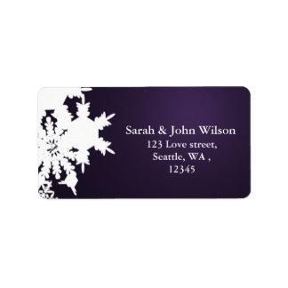 purple winter wedding snowflake return address label