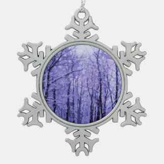 Purple Winter Woods Snowflake Pewter Christmas Ornament