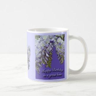 Purple Wisteria Boss Happy Birthday Mug