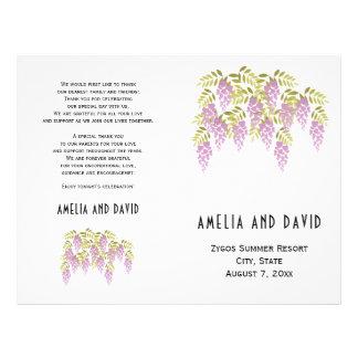 Purple wisteria floral folded wedding program 21.5 cm x 28 cm flyer