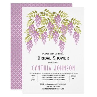 Purple wisteria floral wedding bridal shower card