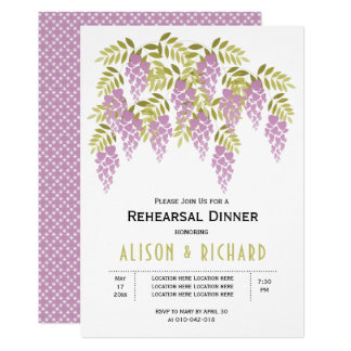 Purple wisteria floral wedding rehearsal dinner card